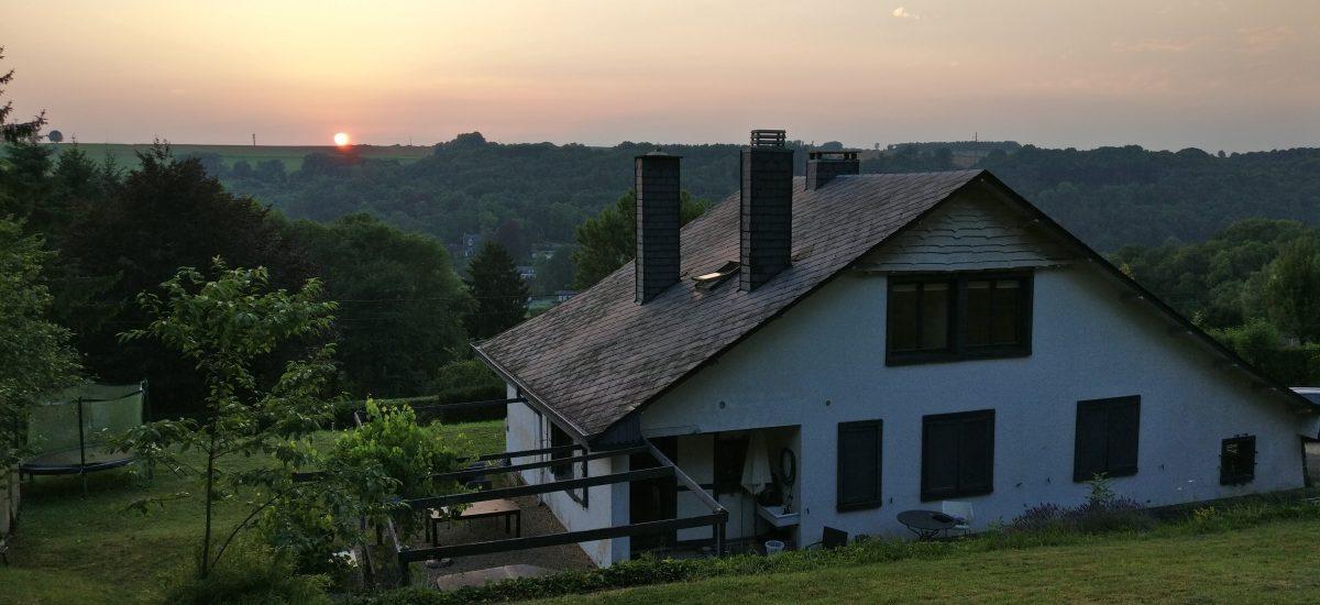 Zonsondergang in de Ardennen